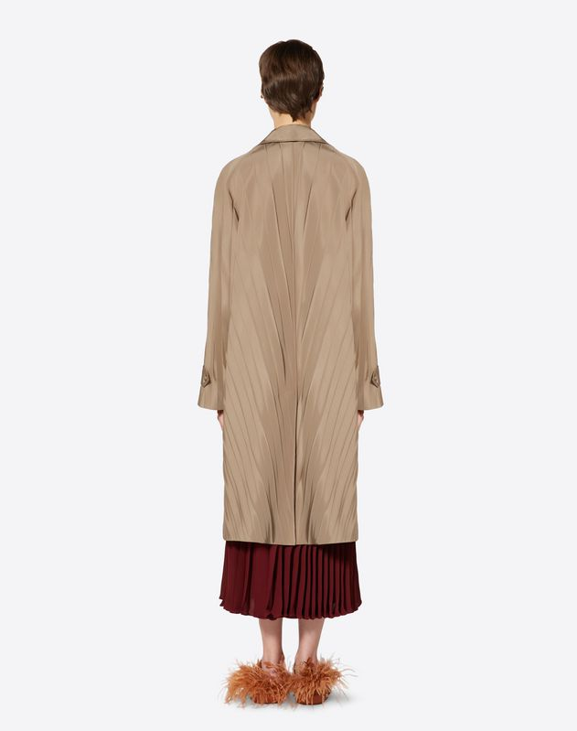 "Micro Faille ""Pressed Pleat"" Trench Coat"