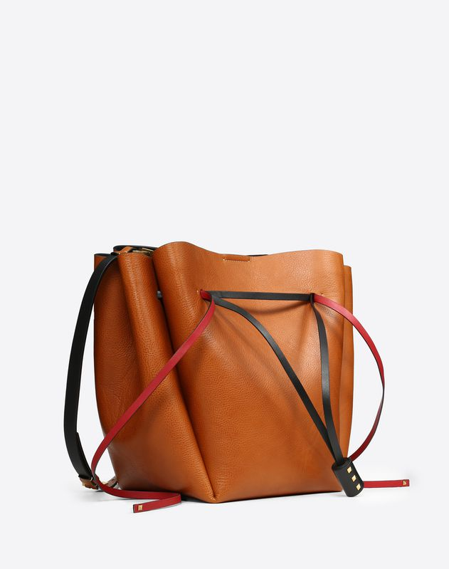 Large Go Logo Cowhide Bucket Bag