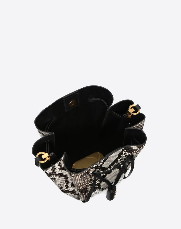 Medium VLOGO Python Skin Bucket Bag