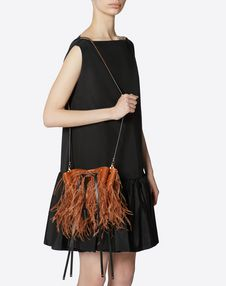 Small VLOGO Bucket Bag With Feather Details