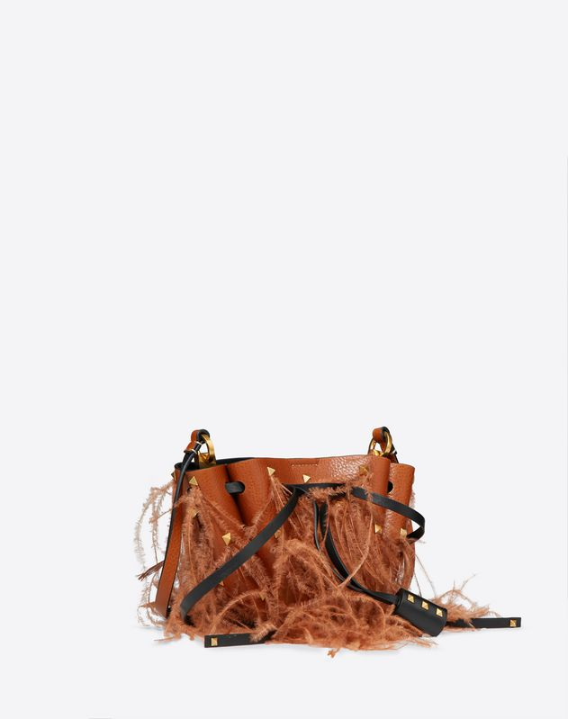 Small Go Logo Bucket Bag With Feather Details
