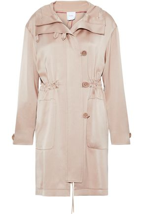 AGNONA Satin-crepe hooded jacket