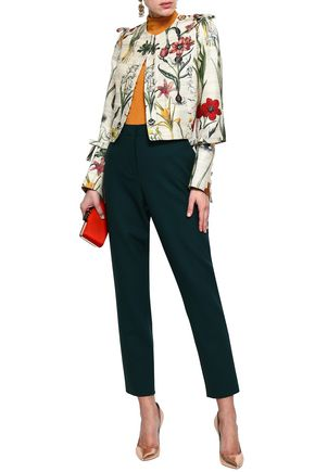 OSCAR DE LA RENTA Cutout floral-print silk and wool-blend jacket