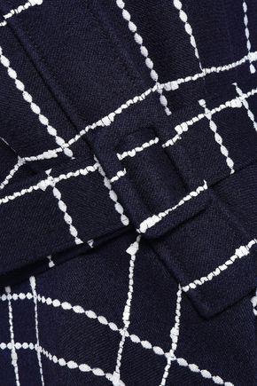 OSCAR DE LA RENTA Belted checked cotton-blend peplum jacket