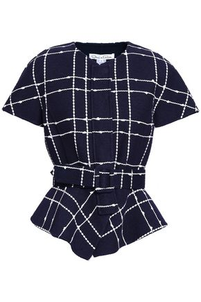 OSCAR DE LA RENTA Belted checked cotton-blend peplum jacket