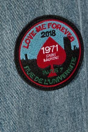 SAINT LAURENT Appliquéd faded denim jacket