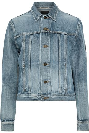 SAINT LAURENT Appliquéd faded denim jacket