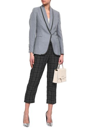 BRUNELLO CUCINELLI Bead-embellished cotton and linen-blend blazer