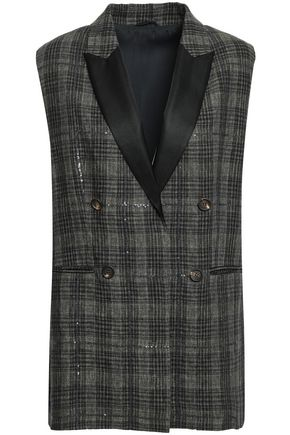 BRUNELLO CUCINELLI Satin-trimmed embellished checked linen vest