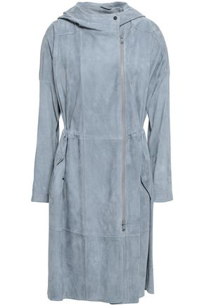 BRUNELLO CUCINELLI Bead-embellished suede hooded coat