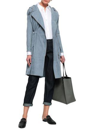 BRUNELLO CUCINELLI Bead-embellished suede hooded coat