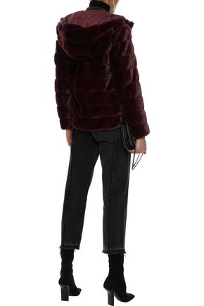 LINE Quilted faux fur hooded coat