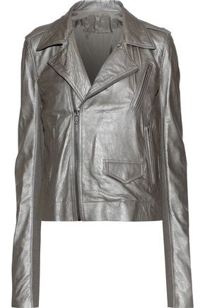RICK OWENS Metallic brushed-leather biker jacket