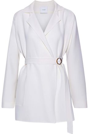AGNONA Belted wool-crepe jacket