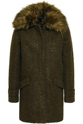 LINE Ludwig faux fur-trimmed bouclé coat