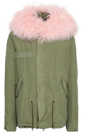 MR & MRS ITALY Shearling-trimmed cotton-gabardine hooded jacket