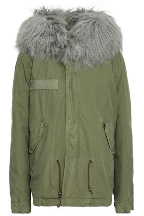 MR & MRS ITALY Shearling-trimmed cotton-gabardine hooded jacket