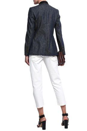 BRUNELLO CUCINELLI Bead-embellished denim blazer