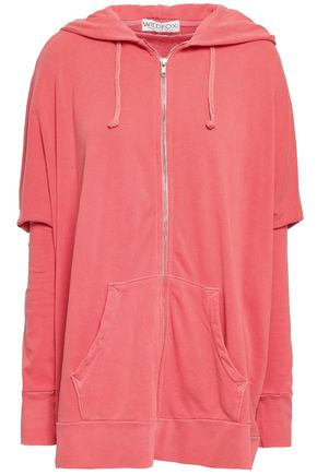 WILDFOX Oversized zip-detailed cotton-terry hooded jacket