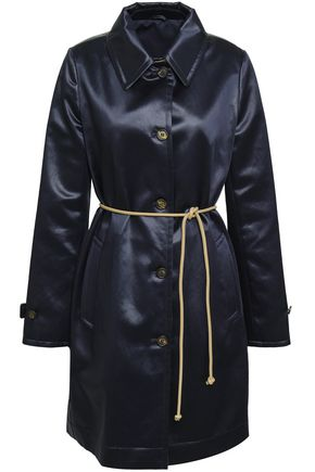 BRUNELLO CUCINELLI Belted cotton-blend satin coat