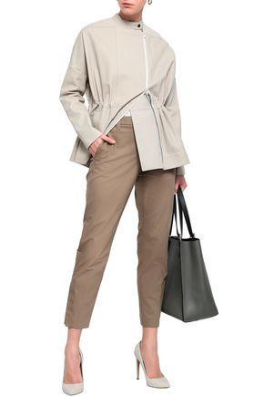 BRUNELLO CUCINELLI Stretch-knit paneled leather jacket