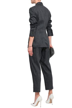 BRUNELLO CUCINELLI Bead-embellished pinstriped linen-blend tapered pants