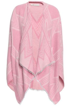 MAJE Frayed jacquard cape