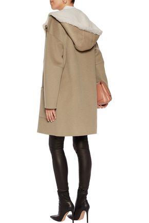 YVES SALOMON Reversible paneled shearling and cashmere hooded jacket