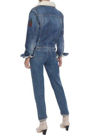 SAINT LAURENT Shearling-trimmed appliquéd denim jacket