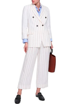 BRUNELLO CUCINELLI Double-breasted pintstriped linen blazer