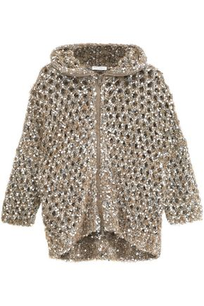 BRUNELLO CUCINELLI Sequined brushed open-knit hoodie