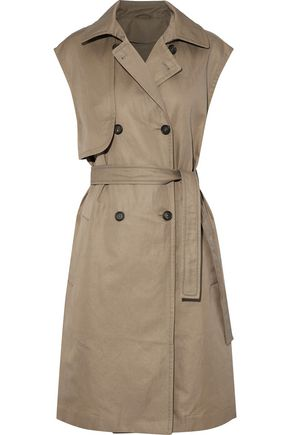 BRUNELLO CUCINELLI Double-breasted belted cotton-blend gabardine vest