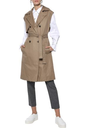 BRUNELLO CUCINELLI Double-breasted belted cotton-blend gabardine vest