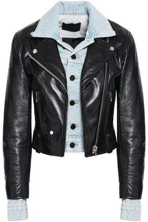 ALEXANDER WANG Layered denim and leather biker jacket