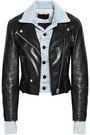 ALEXANDER WANG Layered denim and leather biker jacket
