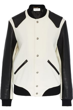 SAINT LAURENT Appliquéd leather and brushed-wool bomber jacket