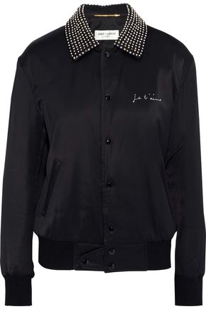 SAINT LAURENT Crystal-embellished embroidered satin bomber jacket