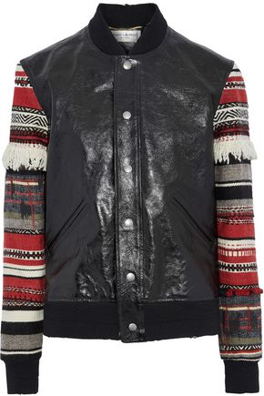 SAINT LAURENT Jacquard-paneled textured-leather bomber jacket