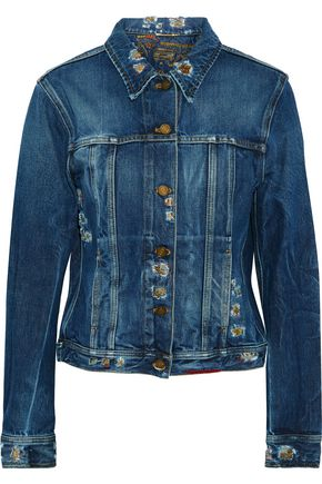 SAINT LAURENT Distressed embroidered denim jacket