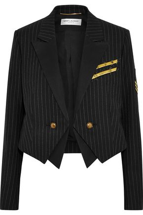 SAINT LAURENT Cropped appliquéd pinstriped wool-twill blazer