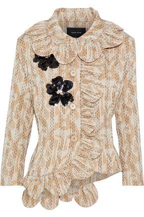 SIMONE ROCHA Embellished ruffle-timmed printed cloqué jacket