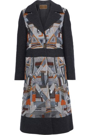 ETRO Paneled embellished felt coat
