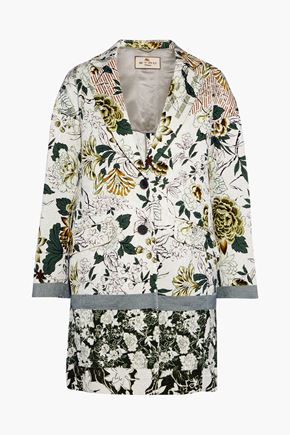 ETRO Floral-print textured cotton-blend coat