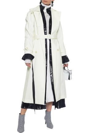 SIMONE ROCHA Double-breasted lace-trimmed cotton-blend trench coat