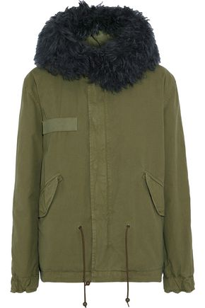 MR & MRS ITALY Shearling-trimmed cotton-canvas hooded coat