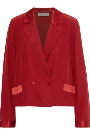 FLEUR DU MAL Double-breasted satin-trimmed washed-silk blazer