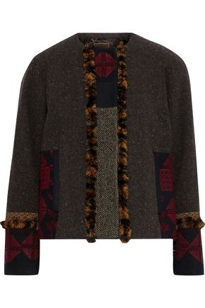 ETRO Paneled embellished wool and cotton-blend jacket