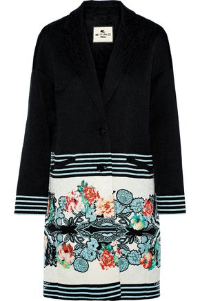 ETRO Printed textured cotton-blend coat
