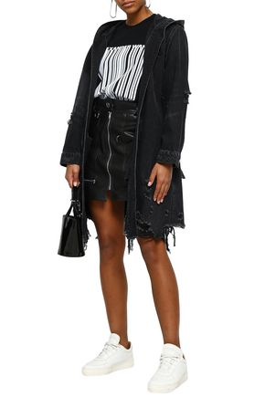 ALEXANDER WANG Belted distressed denim jacket