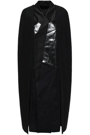 RICK OWENS Coated denim and shell-paneled crepe cape